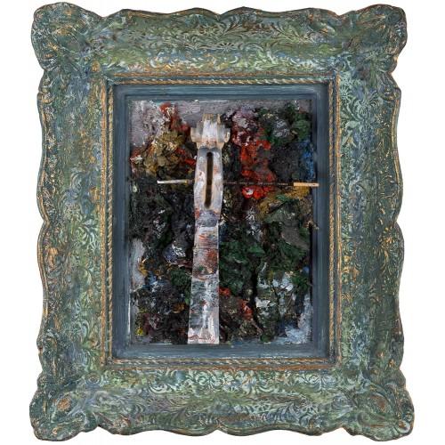 Autoportret - pictură, în ulei pe placaj, foiță aur