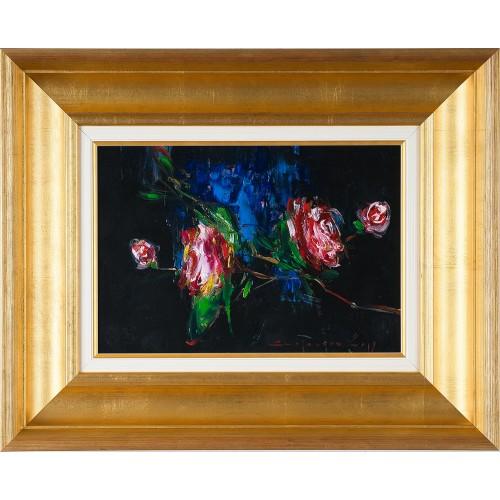 Trandafiri II - pictură în ulei pe carton