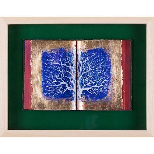 Copacul în alb - pictură în ulei pe carte