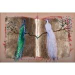 Cartea cu Păsări - pictură în ulei pe carte