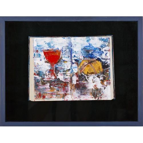 Cina - pictură în ulei pe carte, foița aur