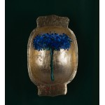 Covată în casetă de lemn - pictură în ulei pe covată