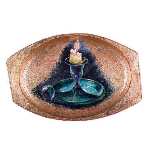 Candelă - pictură în ulei pe platou