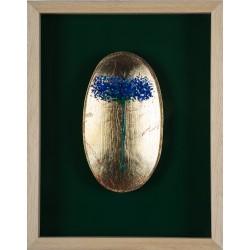 Albastrele covată - pictură în ulei pe covată,autor Iurie Cojocaru