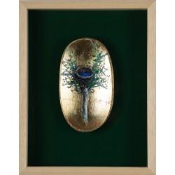 Cuib covată în casetă de lemn - pictură în ulei, artist Iurie Cojocaru