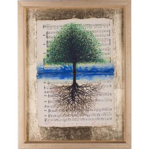 Oglinda - pictură în ulei pe note muzicale