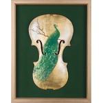 Verde - pictură în ulei pe vioară