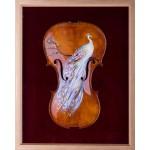 Păunul Alb - pictură în ulei pe vioară